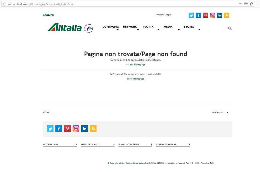 """La pagina web """"sostenibilità"""" del Sito Alitalia [23 giugno 2019]"""
