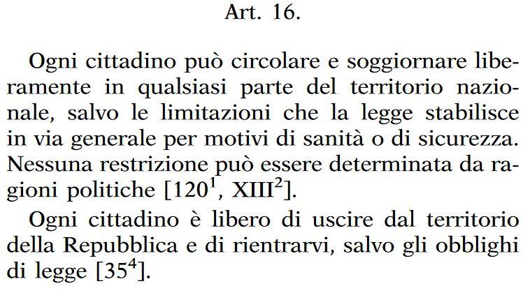 articolo 16 Costituzione