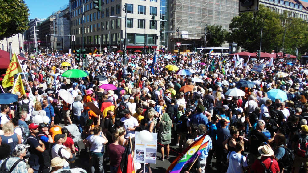 Manifestazione a Berlino dei no-Covid