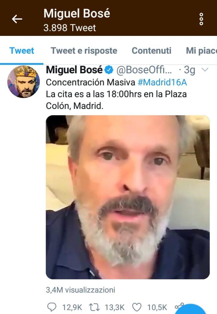 Miguel Bosè su Twitter promuove la manifestazione Madrid16a