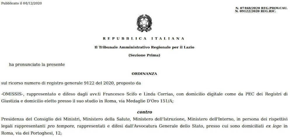 Ordinanza TAR Lazio 4.12.2020