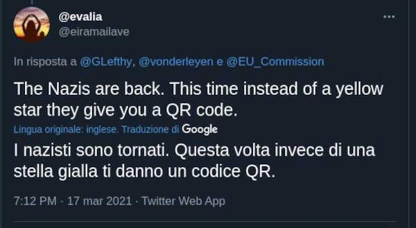 Commento Twitter sui passaporti vaccinali